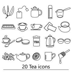 Tea theme black simple outline icons set eps10 vector