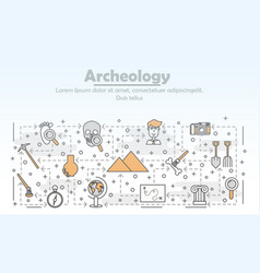 Thin line art archaeology poster banner vector