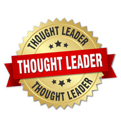 Thought leader round isolated gold badge vector