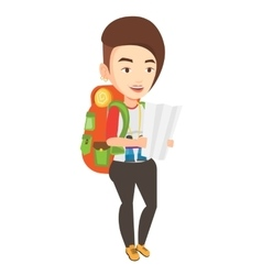 Traveler with backpack looking at map vector