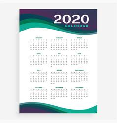 Vertical 2020 calendar design template vector