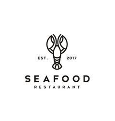 vintage classic lobster crayfish prawn shrimp logo vector image