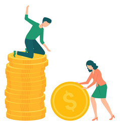 Woman rolling big golden coin earnings concept vector