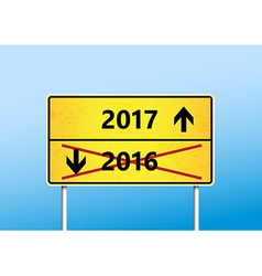 Yellow traffic sign with upcoming 2017 and cross vector