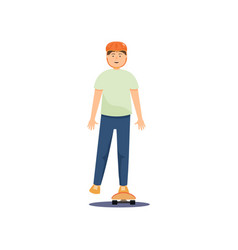 young guy in a helmet rides a skateboard and vector image