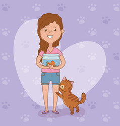 young woman with cute cat and fish vector image
