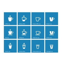 Coffee cup icons on blue background vector