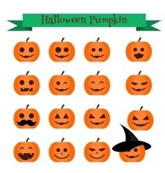 Cute halloween pumpkin emoji icons set Emoticons vector image vector image