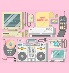 electronics collection from 90s vector image