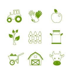 Farm linear icons set vector image