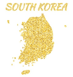 Map of SOUTH KOREA in golden With gold yellow vector image