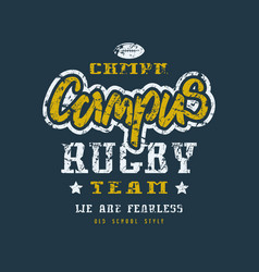 rugby campus team badge with shabby texture vector image vector image