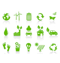 simple green eco icons set vector image vector image