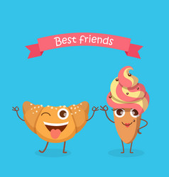 sweets best friends smiling croissant and cake vector image