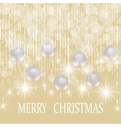 Christmas New year holiday card with silver balls vector image