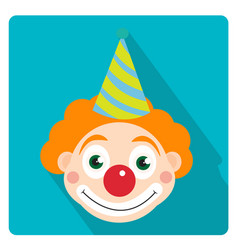 clown icon flat style with long shadows isolated vector image