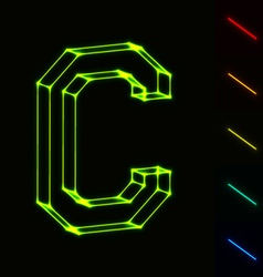 EPS10 glowing wireframe letter C - easy to change vector image vector image