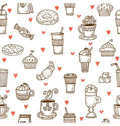 I love coffee Hand drawn seamless pattern with vector image vector image