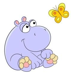 lovely cartoon hippopotamus and butterfly vector image vector image