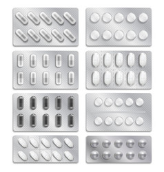 realistic 3d drugs packaging painkiller pills vector image
