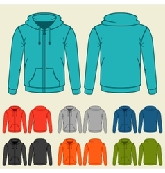Set of colored hoodies templates for men vector image vector image