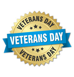 Veterans day round isolated gold badge vector