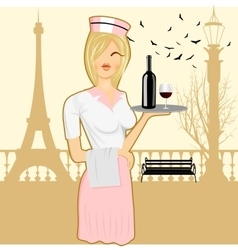cute waitress holding serving tray vector image