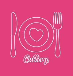 dish fork knife cutlery symbol vector image vector image