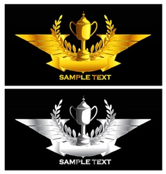 gold and silver vintage emblem vector image vector image