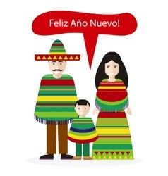 Mexicans People Congratulations Happy New Year vector image