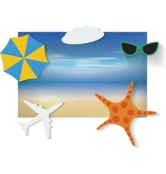 Summer background with white sand sea and sky vector image vector image