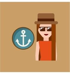 vacation woman anchor summer vector image