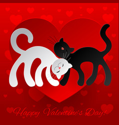 valentine card wuth two enamored cats vector image