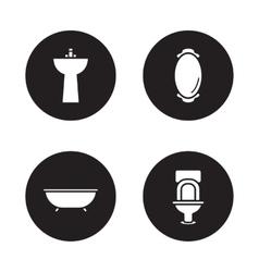 Bathroom black icons set vector