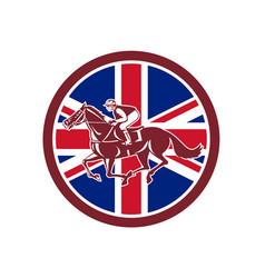 british jockey horse racing union jack flag vector image vector image