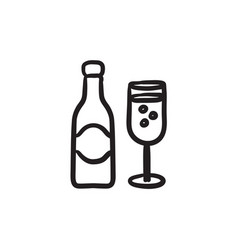 Champagne bottle and two glasses sketch icon vector