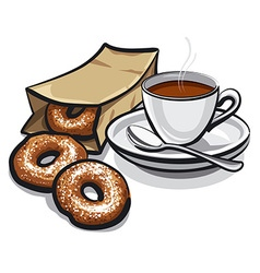 coffee and donuts vector image