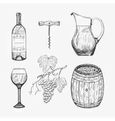 Creative sketch of wine elements vector image