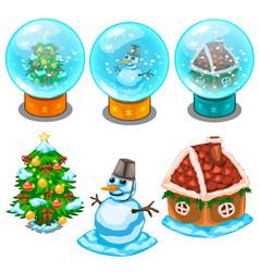 glass balls christmas tree snowman and house vector image vector image