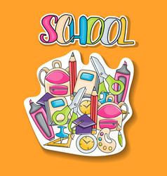 school elements clip art doodle sticker vector image vector image
