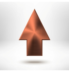 Up Arrow Sign with Bronze Metal Texture vector image vector image