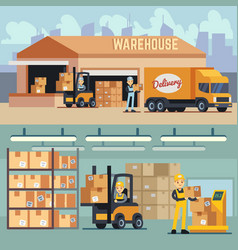 warehouse storage and shipping logistics vector image vector image