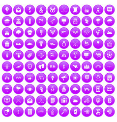 100 arrow icons set purple vector image