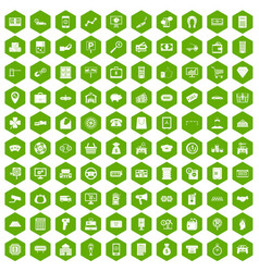 100 coin icons hexagon green vector