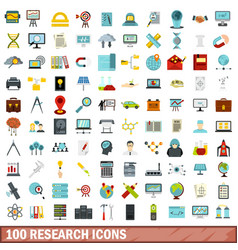 100 research icons set flat style vector image