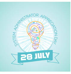 28 july system administrator day vector image