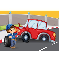 A boy near the car accident at the road vector