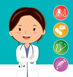 Beautiful medical doctor vector