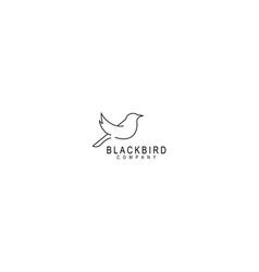 Bird logo line outline monoline art icon vector