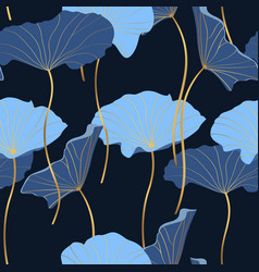 Blue abstract lotus leaves simple golden line art vector
